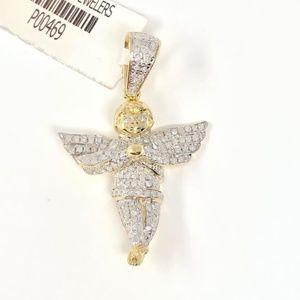 10K Yellow Gold Angel Cross Diamond Pendant